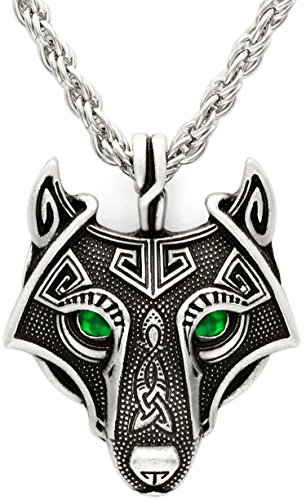 Einzigartige handgefertigt Antik Silber Smaragd grünen Augen Viking Wikinger Wolf Halskette Antik Silber Kette