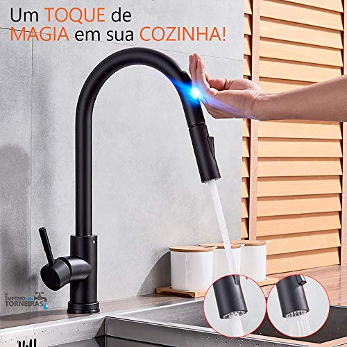 OWOFAN Touch On Kitchen Faucets with Pull Down Sprayer, Single Handle Black Kitchen Sink Faucet with Pull Out Sprayer, Stainless Steel Touch Activated Faucet KH1005R