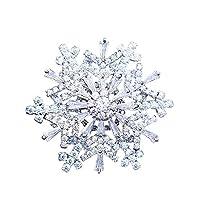 GuDeKe クリスマスプレゼント 雪の結晶 ジュエリー アクセサリー キラキラ ジルコニア 二重層 回転 雪の華 ブローチ ラペルピン (ホワイト)