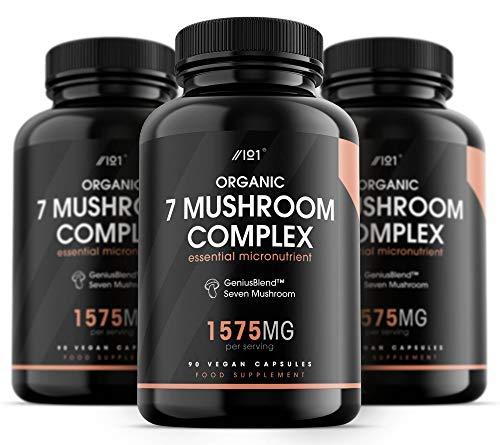 Biologische Sieben-Pilzkomplex-Kapseln - 1575mg - GeniusBlend® Synergistische Formel, 90 vegane Kapseln - ohne Zusatzstoffe, gentechnikfrei, glutenfrei.