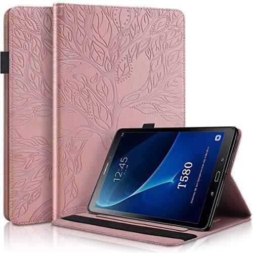 Ailisi Funda para Samsung Galaxy Tab A 10.1 (2016) SM-T580/SM-T585, Elegante Diseño de Árbol de la Vida en Relieve Carcasa Cover Protectora de Cuero con Soporte, Ranuras para Tarjetas -Rosa