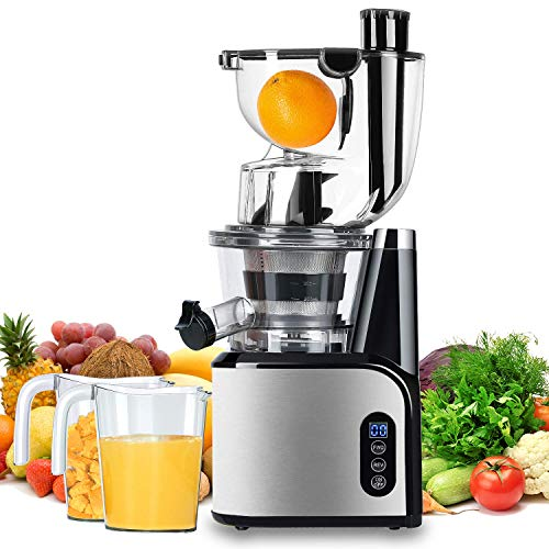 Aobosi Slow Masticating Juicer 83mm(3.15inch) Wide Chute Juice Extractor Cold Press Juicer Machine with Quiet Motor/Reverse Function/Juice Jug and Clean Brush for High Nutrient Fruit & Vegetable Juice (Renewed)