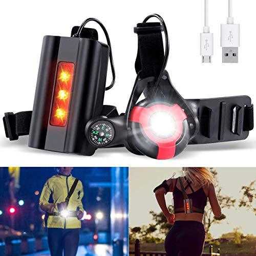 SGODDE Luz para Correr Running, 3 Modos 500 LM Lámpara de Pecho, Luz Led Frontal Correr Recargables USB Impermeable con Brújula para GoPro, Ligera y Portátil, Ideal para Trotar, Bicicleta