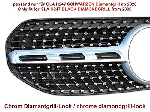 NUR für Schwarzen Diamantgrill für Mercedes GLA H247 Grillaufkleber Folien Sticker (Chrom)