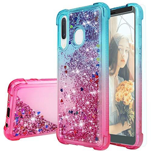 TJS Phone Case for Alcatel 3V 2019/5032W (Not Fit Alcatel 3V 2018), with [Tempered Glass Screen Protector] Glitter Back Skin Full Body Two Tone Design Soft TPU Liquid Quicksand Cover (Blue/Purple)