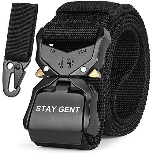 STAY GENT Cintura Tattica per Uomini, Nero Sgancio Rapido Cintura Militare con Fibbia, Pesante Nastro di Nylon Cintura da Lavoro per Attività All'aperto e Utilità