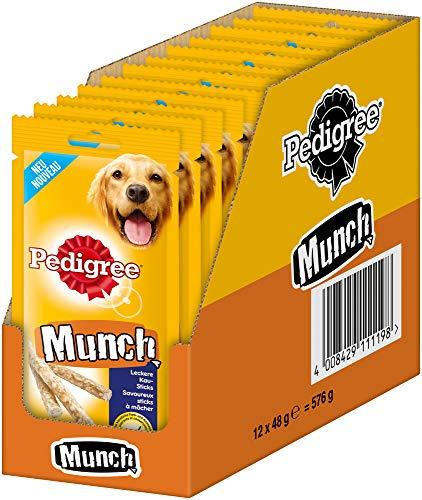 Pedigree Munch - Snack per cani per rafforzare la muscolatura della masticazione, ideale come ricompensa o occupazione, 12 x 48 g