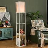 Wjvnbah Lámparas de pie Lámpara de pie con Estante, 3 capas de madera Estantería de pie de luz, lámpara de lectura moderna for el dormitorio, sala de estar, oficina, casa decoración minimalista de Eur