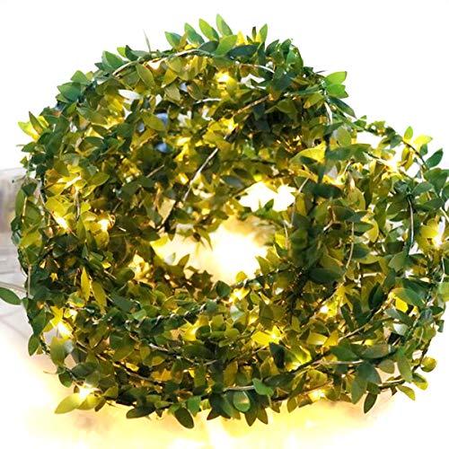NCONCO 100LED cadena luces batería alambre de cobre luz hadas 10 m ratán hojas luz para fiesta decoración del hogar