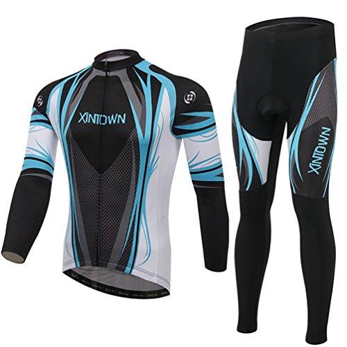 Baymate Hommes Cyclisme Maillot à Manche Longue Set de Compression Padded Respirant Pantalons