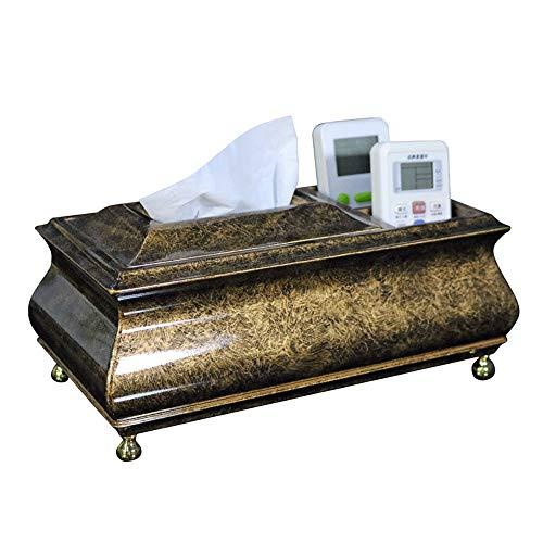 Slivy Tissu d'or en bois avec couverture Boîte pieds ronds en cuivre Vintage Porte-papier multi-fonctionnel avec 3 boutonnières cas de stockage de table Mouchoirs Distributeur Porte-serviette, 11 pouc