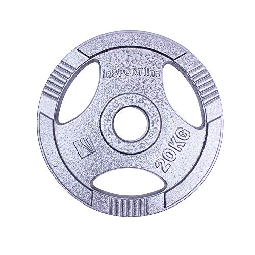 inSPORTline Olympic Steel Plate Dumbbell Weight Plate Home Gym Equipment | Perfect for Fitness Bodybuilding Weight Lifting (Olympic 50 MM Single Plate 20 KG.)