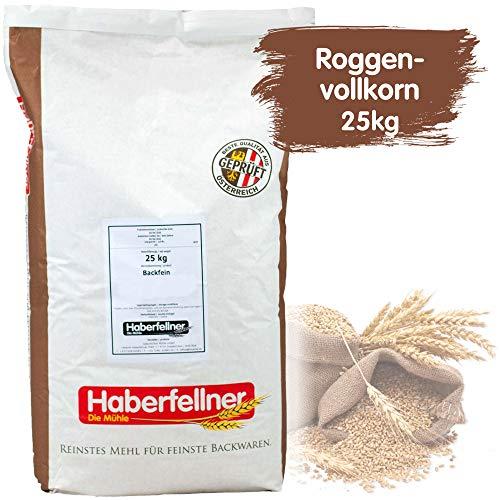 Roggenvollkornmehl 25kg von Haberfellner   25kg Mehl Sack   Nährstoffreiches Roggenmehl geeignet als Brotmehl für Sauerteig und Mischbrot   Beste Qualität ohne Gentechnik und pestizid-kontrolliert