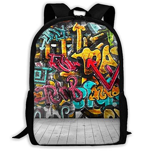 LVOE TTL Schulrucksack Graffiti An Der Wand Rucksack wasserdichte Schultaschen Durable Travel Camping Rucksäcke für Jungen und Mädchen