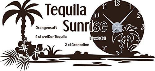 GRAZDesign keukenklok Tequila Sunrise - wandtattoo klok keuken & eetkamer Hawaii/kuba / 800389 Uhrwerk silber 080, bruin