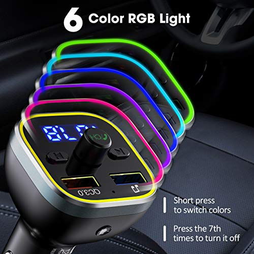 VicTsing FM Transmitter for Car, Bluetooth 5.0 Car Radio Audio Adapter with QC3.0 Quick Charge & 6 RGB Colorful Light, MP3 Player Car Charger Support Hands-free Calling, USB Drive, TF Card,Black