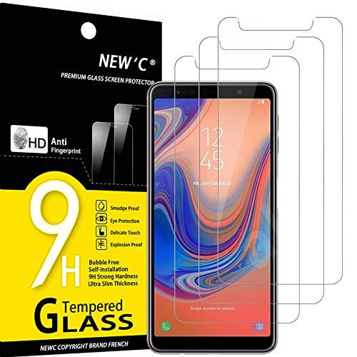 NEW'C 3 Unidades, Protector de Pantalla para Samsung Galaxy A7 (2018), Antiarañazos, Antihuellas, Sin Burbujas, Dureza 9H, 0.33 mm Ultra Transparente, Vidrio Templado Ultra Resistente