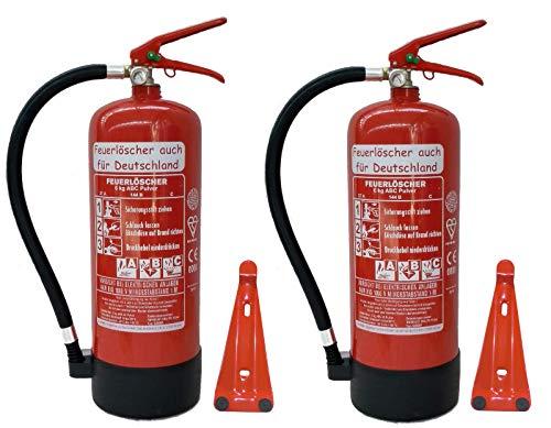 2X 6 kg ABC Pulver Feuerlöscher NEU Orginalverpackt Brandklasse ABC, EN3, Manometer, Messingarmatur + Sicherheitsventil (Mit Kunststoffstandfuß mit Wandhalter Ohne Prüfnachweis u. Jahresmarke)