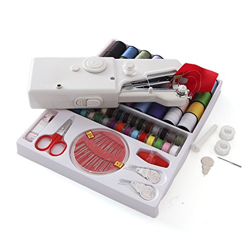 Sewing Machine -Portable Handheld Electric Sewing Machine Home Sewing Quick Table Hand-Held Single Stitch Handmade DIY Tool with 32 Color Sewing Thread