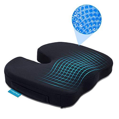 Cuscino ortopedico in schiuma di gel di memoria per coccige e dolori lombari, cuscino sollievo della pressione Grande come cuscino per sedia da ufficio, cuscino per seggiolino auto portatile