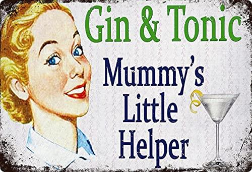 Cartel de metal de 20 x 30 cm Gin & Tonic Mummys Little Helper Vintage Retro Tin Sign
