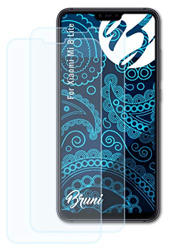 Bruni Schutzfolie kompatibel mit Xiaomi Mi 8 Lite Folie, glasklare Bildschirmschutzfolie (2X)