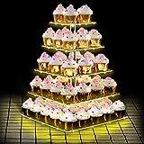 ANJI Depot Cupcake Ständer zum Geburtstag, Cupcake Stand Bar Party Dekor, ideal für Hochzeiten, Geburtstag (Yellow, 5Tier)