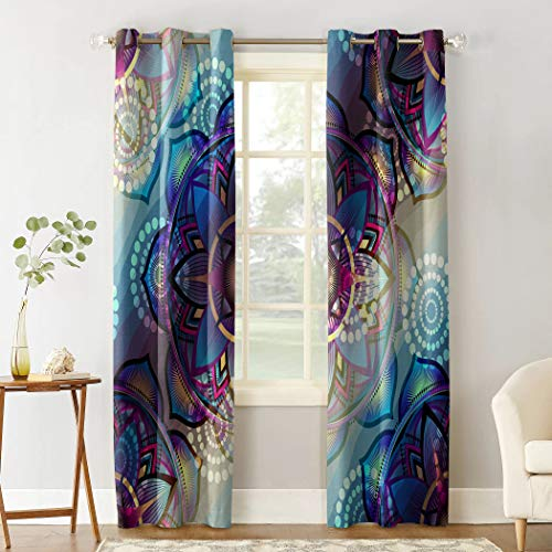 """Room-Darkening Draperies & Curtains Set of 2 Panels Gorgeous Art Flower Thermal InsulatedDrapes for Living Room Bedroom Kitchen Home Decor Grommet Top Curtains 52"""" Wx90 L"""