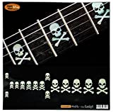 Fretboard Markers Inlay Stickers Decals for Guitars & Bass - Sideways Skulls w/Crossbones - White Pearl