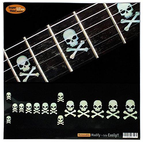 Inlay Sticker Griffbrett Position Marker für Gitarren & Bass - Sideways Skulls w/Crossbones - Weiß Perle