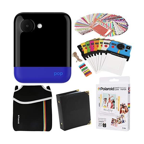 Polaroid POP Instant Camera (Blue) Gift Bundle + ZINK Paper (20 Sheets) + Pouch + 100 Sticker Border Frames + Hanging Frames + Album