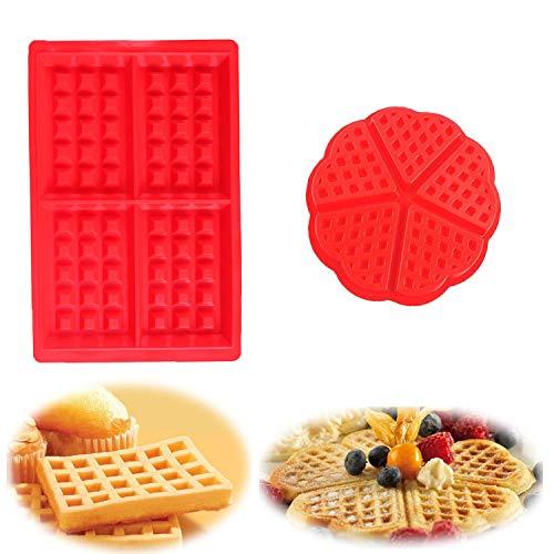 YIKEF Stampo per Waffle, Stampi per Waffle Antiaderenti in Silicone, Ideali Come Forme per Preparare Cialde, Tavolette di Cioccolata, Torte, Adatto per Lavastoviglie, Forno, Microonde, Frigorifero