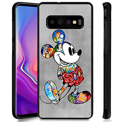 DISNEY COLLECTION Phone Case for Samsung Galaxy S10 Plus Cute Mickey Disney Family Anti-Slip Shockproof Protective Tired Cover for Galaxy S10+ 6.4 Inch