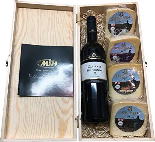 Geschenkbox mit Wein und Pager Käse in einem Feinschmecker Geschenkset in Weinkisten Holz (Einweg)