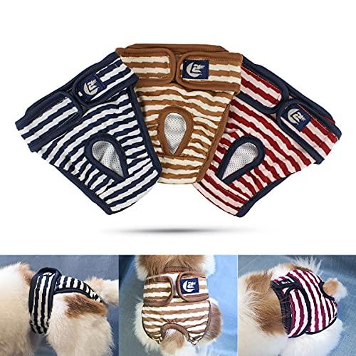 Namsan Couche pour Chien (Paquet de 3) Lavables Culotte pour Chien Femelle Chaleur Confortable pour Animaux Femelles, Chiens, Chiots