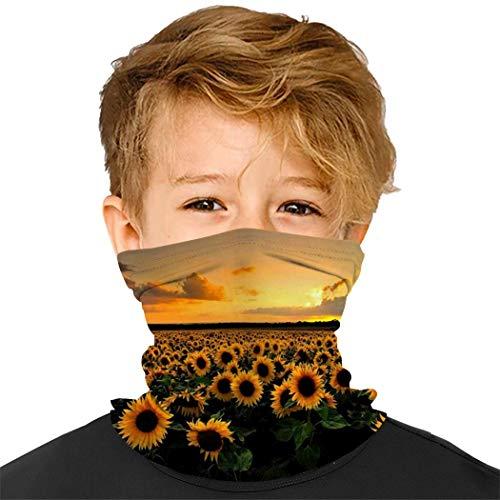 Kids Boys Girls Sunflower in Field Painting Multifunctional Seamless Bandanas Headband Scarf Headwrap Neck