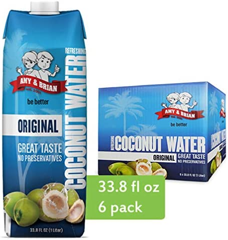 Amy Brian Pure Coconut Water 1 Liter Pack of 6 Best Tasting Coconut Water Non GMO No Added Sugar product image