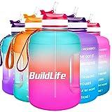 BuildLife Botella de agua motivadora de 2,2 l, con pajita y