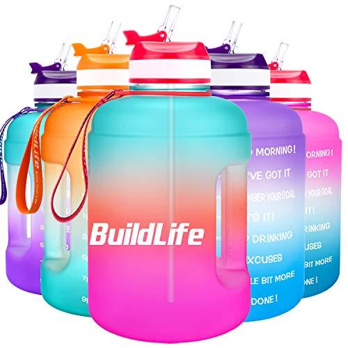 BuildLife Botella de agua motivadora de 2,2 l, con pajita y marcador de tiempo para beber diariamente, sin BPA, reutilizable, para gimnasio, deportes al aire libre (verde/rosa, 2,2 L)