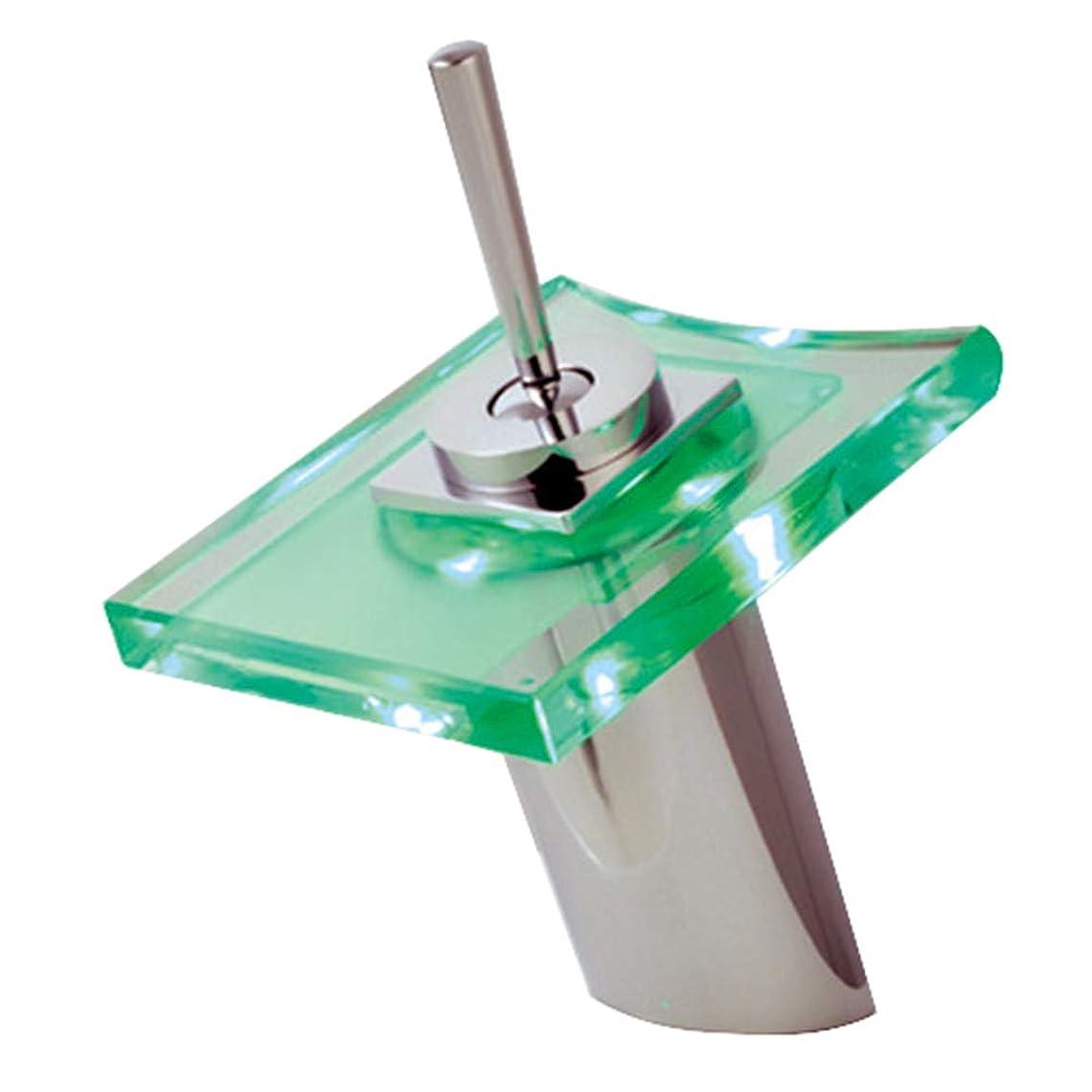 征服者軍団カロリーLED光温度制御色滝蛇口 - ロータリースイッチガラス蛇口浴室