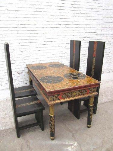 Luxury-Park China hoher Tisch Esstisch gedrechselte Beine rustikal bemaltes Pinienholz