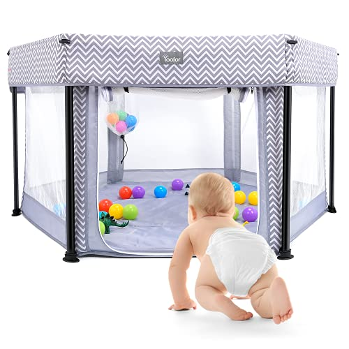 YOOFOR Portable Indoor Outdoor Playard Playpen for Babies and Toddlers-Sturdy Hexagon Playpen with Cushioning for Safety, for Travel ,Lightweight, Easy and Compact Fold with Carry Bag and Toy Balls