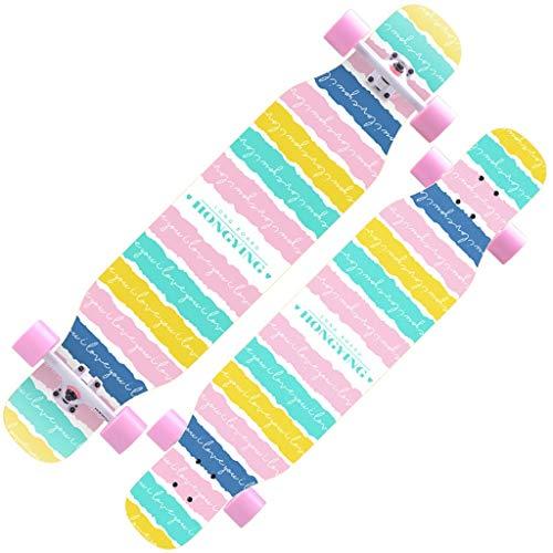 Skateboarden Maple Cruiser Allrad-Roller Für Kinder Anfänger Plus Paket Unisex Longboard (Color : Pink, Size : 110 * 23.5cm)