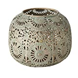 Chubby Belly Candle Lantern, Moroccan, Metal, Daisy Lattice Work, Hurricane for Votives and Tea Lights, Distressed Gold, Rustic Patina, Iron, 6.25 Diameter x 4.25 Inches