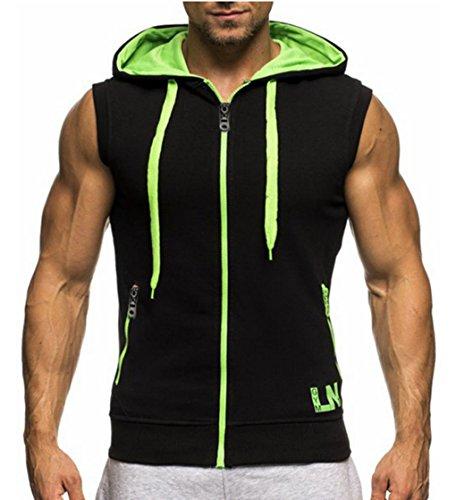 LemonGirl Men's Bodybuilding Sleeveless Hoodie Gym Tank Top Blackgreen
