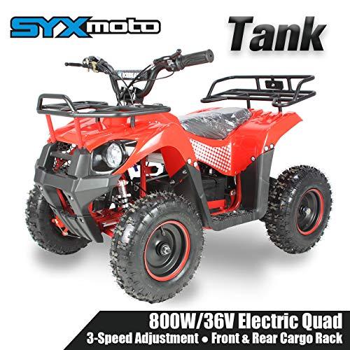 SYX MOTO Kids Mini ATV Tank 36V 800W Dirt Quad Electric Four-Wheeled Off-Road Vehicle, Red