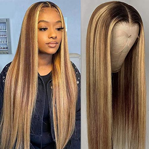 Straight Highlight Lace Front Wigs Brazilian Virgin Human Hair 4x4 Lace Closure Wigs for Black Women 20 Inch Human Hair Pre Plucked With Baby Hair Wigs Ombre Blonde Colored Human Hair Lace Front Wigs