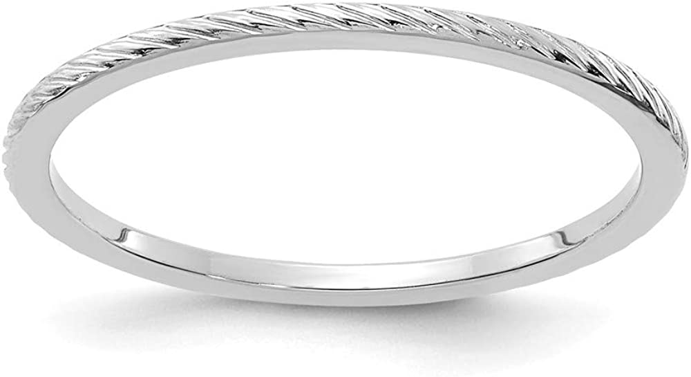 Solid 14K White Gold 1.2mm Twisted Wire Pattern Stackable Band Thin Wedding Anniversary Ring