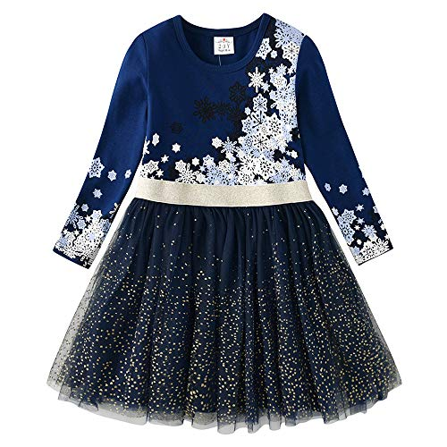 VIKITA Girls Dresses Princess Toddler Dress Flower Cotton Tulle Party Casual Outfits Clothing LH4583 5T