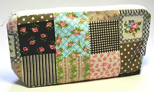 Stiftmäppchen aus Stoff - PATCHWORK LOOK ROSEN - waschbar - auch für Kabel/Schminke/Make-Up/Kosmetik - Federmäppchen/Kabeltasche/Kabel-Tasche - Geschenk Geburtstag